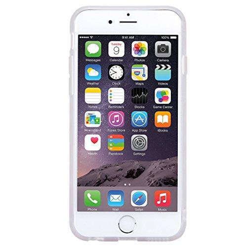 Coque iPhone 6, HB-Int 3 en 1 Housse Etui pour iPhone 6S Originale Motif Coque TPU Silicone Case Cover avec Ultra Fine Arrière Housse Rugged Slim Dual Layer Protective PC Couverture Légère Flexible Fo Rose et Blanc Stripe