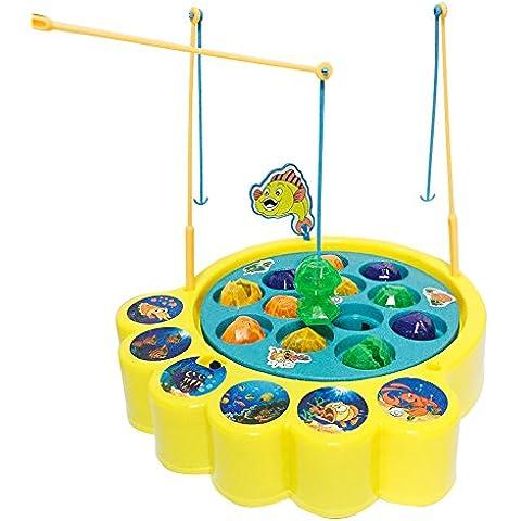 Juegos de Pesca Electrónico Musical Juguete Familia Educativo con 12 Peces para Niños Niñas 3 4 5 Años