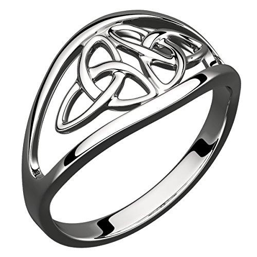GWG® Bague pour Femme avec Croix De Double Nœud Trinité Celtique Triquetra en Argent Sterling – 5