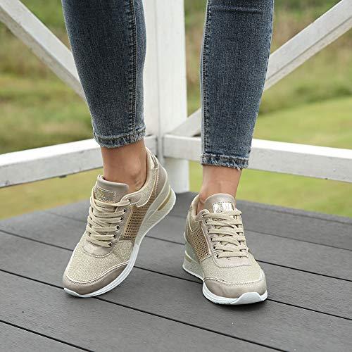 Zeppa Scarpe Ginnastica Stringate Fitness Sneakers Donna Da Con jL4A5R