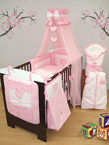 15 pezzi con Set di biancheria da letto per bambini, per la culla portaoggetti, porta pannolini, Sacco a pelo, per culla, lettino, per lettini da 140 x 70 cm, motivo: cuori, colore: rosa