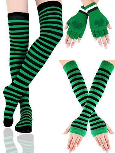 Boao Gestreifte Armlinge Lange Gestreckte Strümpfe Shamrock Fingerlose Handschuhe St. Patrick's Tag Party Zubehör für Damen Mädchen, 3 Paare (Farbe Set ()