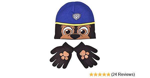 eb9f67fca79 Boys Paw Patrol Chase Childrens Winter Beanie Hat    Gloves Official Set  54798