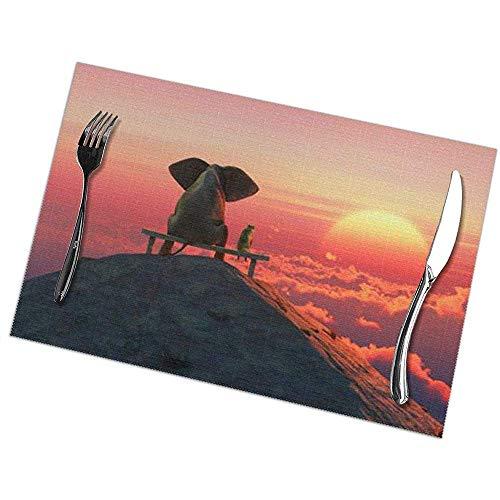 hgdfhfgd Elephant Print Tischsets Set mit 6 leicht zu reinigenden, strapazierfähigen, rutschfesten Küchentischsets