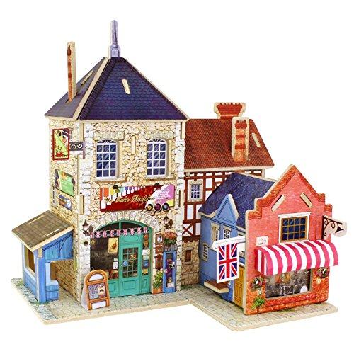 ROBOTIME Holz 3D Haus der Puzzlespiele Britische Musik-Speicher Woodcraft-Bau-Satz Versammlung DIY Weihnachtsgeburtstags-Geschenk Mini DIY Puppen-Haus