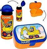 Unbekannt 2 TLG. Set _ Lunchbox / Brotdose & Trinkflasche -  Bagger & Baustelle  - incl. Name - mit extra Einsatz / herausnehmbaren Fach - Brotbüchse Küche Essen - Sp..
