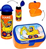 alles-meine.de GmbH 2 tlg. Set _ Lunchbox / Brotdose & Trinkflasche -  Bagger & Baustelle  - inc..
