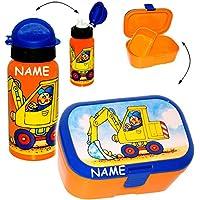 Preisvergleich für alles-meine.de GmbH 2 TLG. Set _ Lunchbox / Brotdose & Trinkflasche - Bagger & Baustelle - mit..