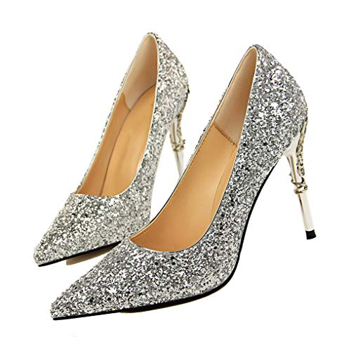 Damen Pailletten Pumps Spitz High Heel Stöckel Kleid Hochzeit Party Schuhe Zebra Formale Kleider