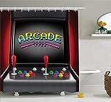 Abakuhaus Duschvorhang, Aracade Beschriftet Gaming Joystick Bottoms Retro Design Spielen Atari Design 3D Effekt Druck, Wasser und Blickdicht aus Stoff mit 12 Ringen Schimmel Resistent, 175 X 200 cm