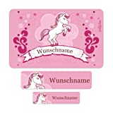 Striefchen® Schuletiketten - Set mit Wunschname Motiv: Pink Pony (100-teilig) Ideal zur Einschulung oder Schulanfang