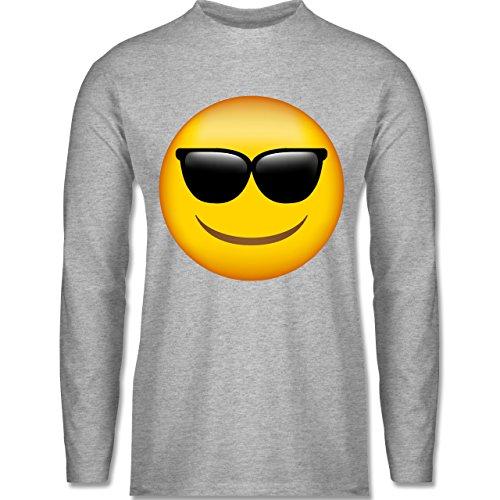 Shirtracer Comic Shirts - Emoji Sonnenbrille - Herren Langarmshirt Grau  Meliert