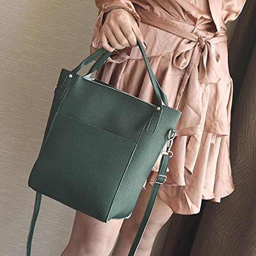Longra Solid Color 4 PCS Set Women Fashion Lichee Pattern Bucket Handbag + slant bag + hand bag + Pacchetto carte Verde