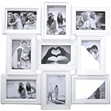 Ornate White 9 Aperture Multi Photo Frame by Carousel Home