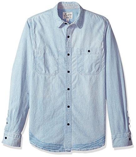 Denim Long Sleeve Work Shirt (Lucky Brand Herren Casual Long Sleeve Denim REWORKED Work Shirt Button Down Hemd, Germantown, Mittel)