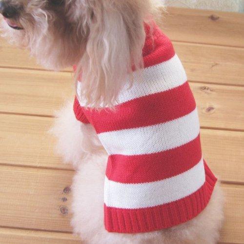 Tangpan Rollkragen Streifen Haustier Kleidung Hund Wolle Classic Pullover, XXL, Red &White Stripe -