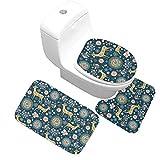 Epinki Flanell Teppich & Toilettenmatte Set Pflaume Hirsch Muster Teppiche für Wohnzimmer Schlafzimmer Bunt 60x40CM