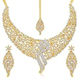 #7: Sukkhi Gold Plated Australian Diamond Choker Necklace With Drop Earrings And Mangtikka Set For Womesn