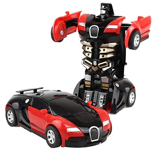 Children's Toys Transformers Robot Car Dual Mode 360� Rotating Stunt Car (Orange)