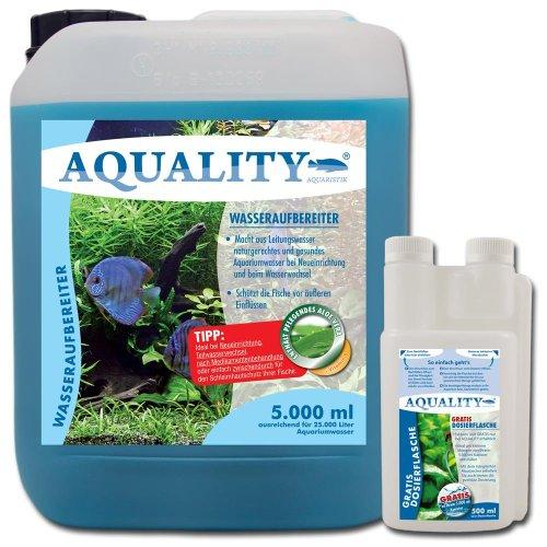 AQUALITY Wasseraufbereiter 5.000 ml (GRATIS Lieferung innerhalb Deutschlands - Aquarium Wasserpflege und Aufbereiter mit Aloe Vera + Vitamin B direkt vom Hersteller. Für den perfekten Wasserwechsel und bei Neueinrichtung)