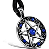 JewelryWe Womens Pentacle of Life Pentagram Wiccan Pagan Gothic Pendant Necklace with Blue Rhinestones (with Gift Bag)