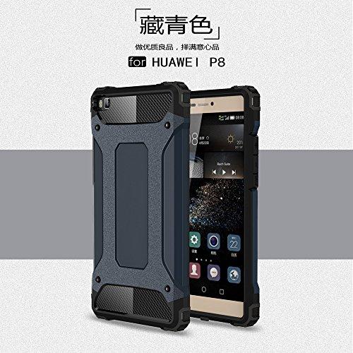P8 Hülle,XINYUNEW [Geschenk Stahlfolie Displayschutzfolie] Weiche Überzug 2-in-1 Konsole Silikon TPU+PC Diamant-Rüstung Handyhülle Schutzhülle Bumper Case für Huawei P8(Marine) (Marine-konsolen)