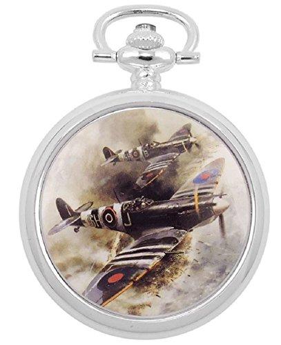 Atlas Reloj de bolsillo Hombre Retro mecánico Analog cuerda manual plateado 42mm Salto Tapa D Day Spitfires