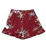 Shorts Damen Sommer Luckycat Kurze Sommerhosen Für Damen Volant Breites Bein Shorts Hose Sommerhosen Pants Hosen (Rot, Small)