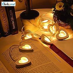 MUMENG LED Luces de la Secuencia 3.9 Pies Largo Blanco cálido 10 LEDs en Forma de Corazón Energía de la Batería Iluminación Decorativa Interior y Exterior Ideal Para Bodas, Navidad, Partidaria, Decoración del Hogar