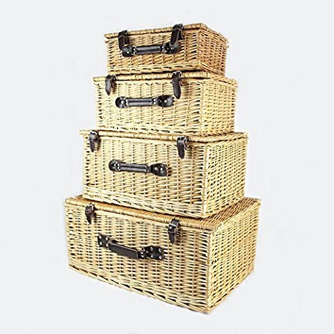 Luxury 4 Wicker Storage Baskets various sizes - Why not fill with gifts and treats to make a unique hamper. Perfect for tidy storage, home decor, magazines, crafts, bits and bobs and more!
