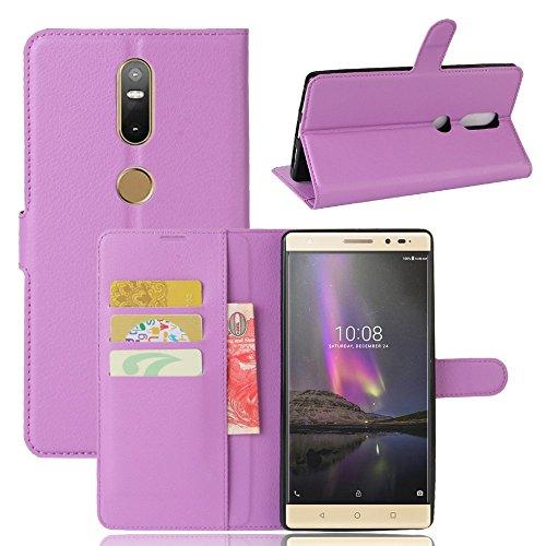 Ycloud Tasche für Lenovo Phab 2 Plus Hülle, PU Ledertasche Flip Cover Wallet Case Handyhülle mit Stand Function Credit Card Slots Bookstyle Purse Design lila