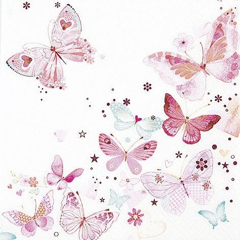 20 Servietten Lovely butterflies - Reizende Schmetterlinge / Frühling 33x33cm