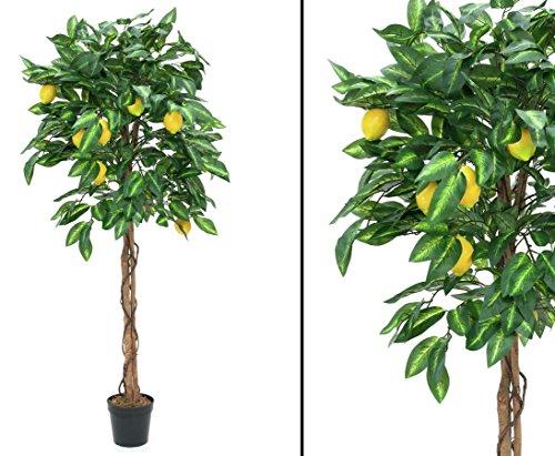 Zitronenbaum künstlicher Fruchtbaum mit 1046 Blätter und 20 Früchten, Höhe 180cm – Kunstbaum Kunstpflanzen künstliche Dekobäume