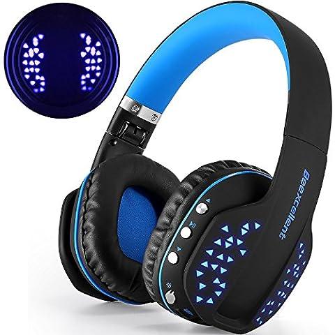 Casque Bluetooth Sans Fil, Beexcellent Casque Audio Ultra-léger Avec LED Lampe Micro Anti Bruit Stéréo Intégré Bluetooth 4,1 CSR Signal Stable Compatible Android iOS et Tablettes