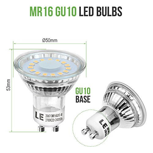 le 10 pack gu10 led light bulbs 50w halogen bulbs equivalent mr16 4w
