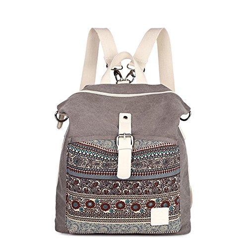 Bwiv Rucksäcke Canvas Unisex Schulrucksack Vintage Schultertasche Daypack Outdoor Backpack Damen Herren Tasche für Retro Reisetaschen Lässige Blau Grau