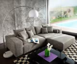 DELIFE Couch Marbeya Hellgrau 290x110 cm mit Schlaffunktion Hocker
