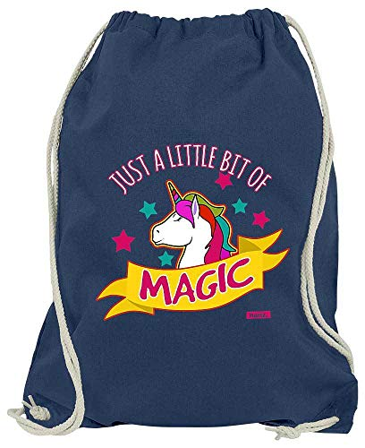 Weiße Una Das Kostüm Hoodie Kind Einhorn - HARIZ Turnbeutel Just A Little Bit of Magic Einhorn Tiere Kindergarten Inkl. Geschenk Karte Navy Blau One Size