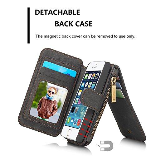 CaseMe® Étui portefeuille en cuir véritable pour Samsung S7 avec housse amovible, porte-monnaie zippé, porte-cartes et bouton-pression aimanté noir