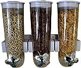 United Entertainment - Dispenser per Cereali/Cereali/Corn flakesspender/Triplo Dispenser con Supporto da Parete per Cereali, cornflakes e Cereali, Bianco