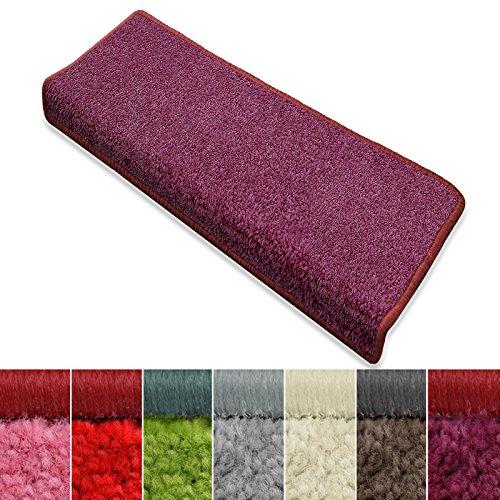 Stufenmatten Noblesse | verschiedene Formen und Sets | für Treppen, innen | mit GUT-Siegel | weicher getufteter Flor in modernen Farben (lila, rechteckig, 15er Set)