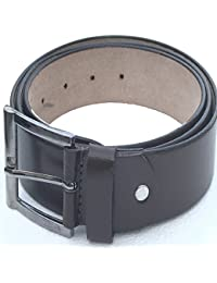 Genuine Leather For Boys Black Belt (Perfect Fit Belt, 28 Inches To 42 Inches Waist ) With Free Plastic Container...
