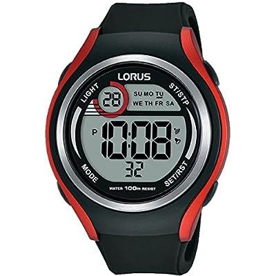 Lorus -lorus Digital Gents Black And Redstrap Watch