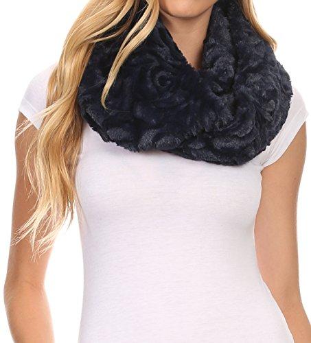 Sakkas 16102 - Mellah Lange breite weiche Fuzzy Furry Pelz Unendlichkeit Herbst-Winter-Verpackungs-Schal - Navy - OS - Furry Damen Stiefel