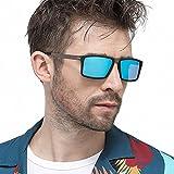 LEDING&BEST Sonnenbrille Polarisierte für Herren Damen Metallrahmen,Sport Style Fahrbrille Shades für Radfahren Baseball-Trekking Modische Ultra Light Metall Sonnenbrillen (Blue)