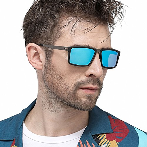 Sonnenbrille Polarisierte für Herren Damen Metallrahmen,Sport Style Fahrbrille Shades für Radfahren Baseball-Trekking Modische Ultra Light Metall Sonnenbrillen (blue)
