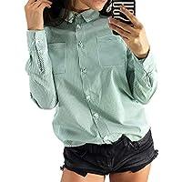 Frauen Gestreiftes Beiläufiges Chiffon- Lang Hülsenhemd Bluse Pullover Shirt Tops S-3XL