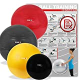 POWRX Palla da ginnastica Deluxe Colori: Rosso, Nero, Antracite, Misure: 45, 55, 65, 75, 85, 95, 105...