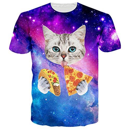 T-shirts Nette Für Männer (Leapparel Unisex Galaxie Raum Pizza Katze Druck Art Und Weisebeiläufige Nette T-Shirts Kleid L)