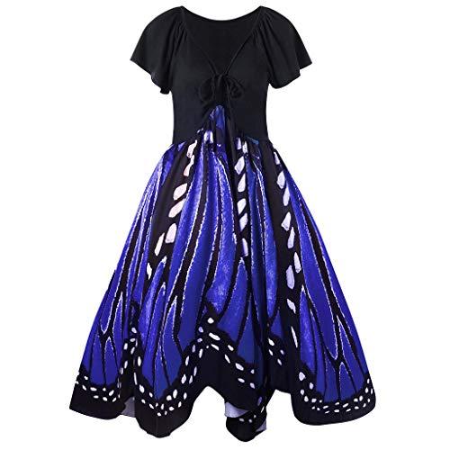 Yvelands Mode Damen Casual Lace Up Oansatz Schmetterlinge Print Kurzarm Swing Kleid